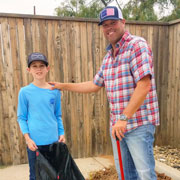Yardwork by President and son